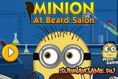Миньон с бородой в мужском зале парикмахерской