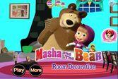 Маша и медведь декорируют комнату