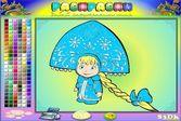 Маша Снегурочка - раскраска для малышей
