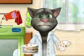 Кот Том учиться мыть посуду при помощи современных технологий