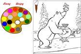 Гостеприимный медведь приготовился к чаепитию - раскраска
