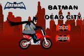 Бэтмен в мертвом городе на мотобайке