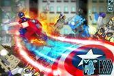 Капитан Америка сражается со злодеем в лего Марвел