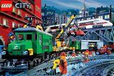 Лего поезд движется и собирает пассажиров