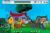 За лошадями пристально следит фермер со шлангом
