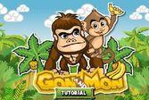 Мартышка и горилла вместе развлекаются