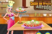 Эльза готовит курицу и броколли альфредо