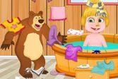 Маша и Медведь: уборка в ванной комнате