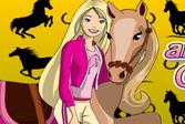 Раскраска: Барби и Лошадка