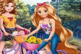 Принцессы Диснея катаются на велосипедах