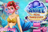 Играть Дисней: Настоящий Макияж Ариэль онлайн флеш игра для детей
