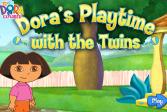 Играть Дора с близнецами онлайн флеш игра для детей