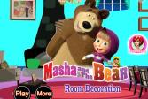 Играть Маша и медведь декорируют комнату онлайн флеш игра для детей