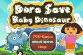 Играть Дора спасает детеныша-динозавра онлайн флеш игра для детей