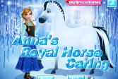 Играть Анна ухаживает за королевской лошадью онлайн флеш игра для детей