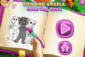 Играть Говорящий кот Том и Анжела: Книжка-раскраска онлайн флеш игра для детей