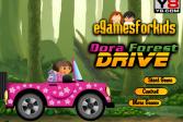 Играть Дора вождение в лесу онлайн флеш игра для детей