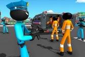 Американская полиция US Police Stickman Criminal Plane Transporter Game