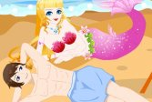Любовник русалки на пляже Mermaid Lover In Beach